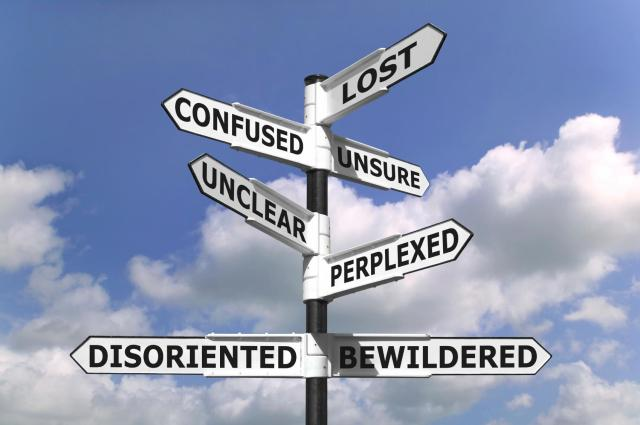 directional signs lost and confused