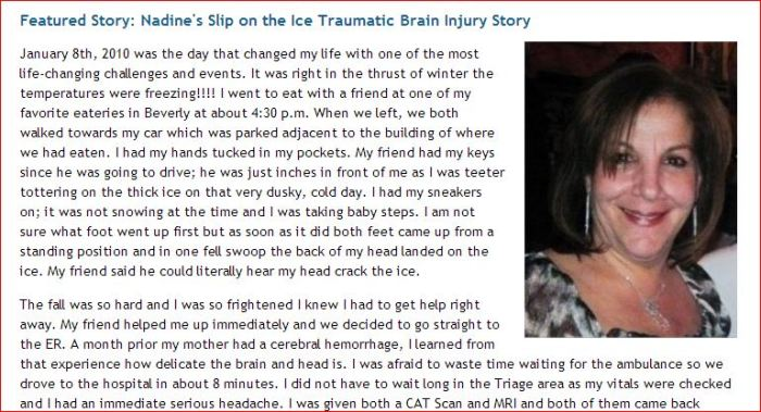Nadine's Sliip on the Ice Traumatic Brain Injury Story  Betty Clooney Center