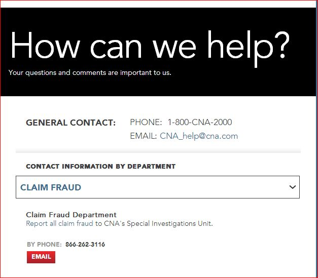 CNA CLAIM FRAUD CONTACTS
