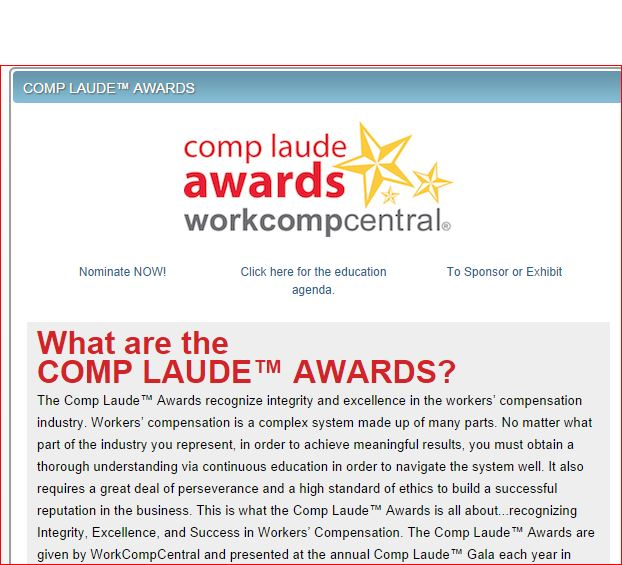 WorkCompCentral Comp Loud Awards