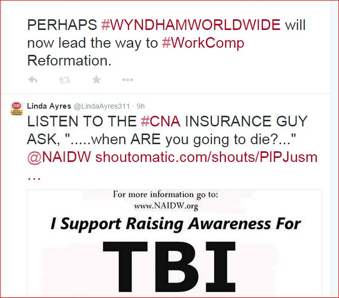 #Wyndham #WorkComp  NO MEDICAL CARE, NO BENEFITS, NO RETURN TO WORK, NO NADA....THANKS, WYNDHAM! (4/6)