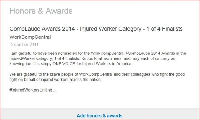 LINKED IN WORK COMP LAUDE AWARDS