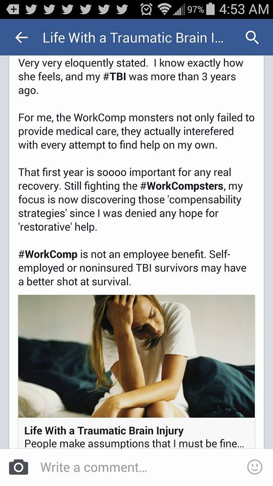 llife with a brain injury and work comp