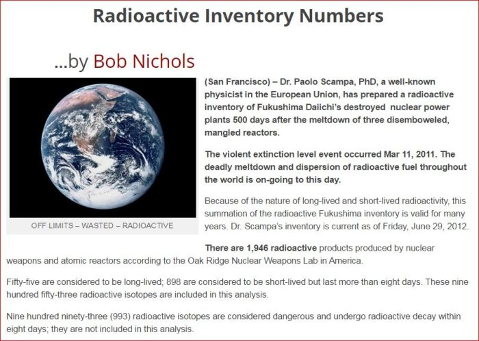 Fukushima Radioactive Inventory Numbers VT 2012