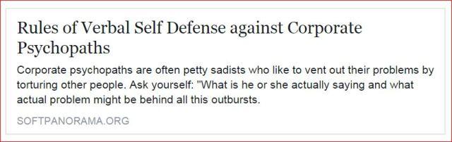 Verbal Self Defense against Corporate Psychopaths