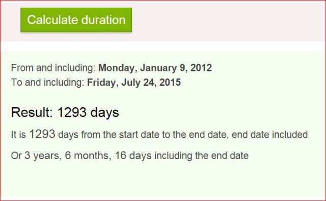 Duration since Jan 9 2012