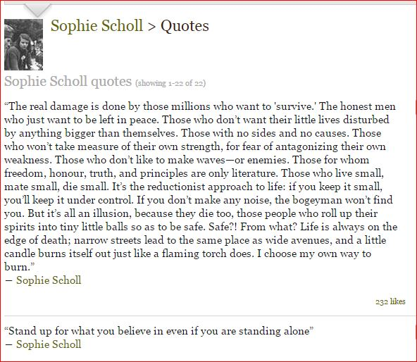 SOPHIE SCHOLL QUOTES to encourage Injured Workers