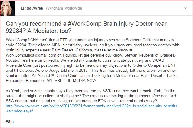 CAN YOU RECOMMEND A BRAIN INJURY DOC WILLING TO DEAL WITH WORKCOMPSTERS