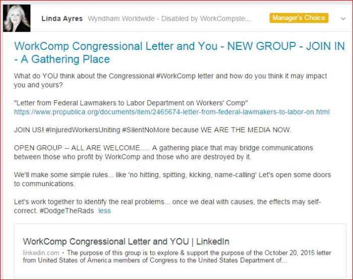 WorkComp Congressional Letter and You new LINKEDIN GROUP 10 23 2015
