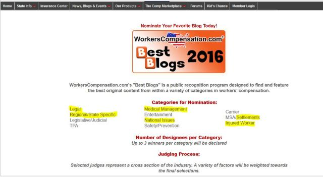 Nominate Ask About Workers Comp Gravy Trains and My WorkComp Coach for Best Blogs of 2016 INJURED WORKER primary category and sub categories of national issues legal settlement medical