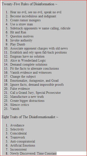 25 rules of disinformation