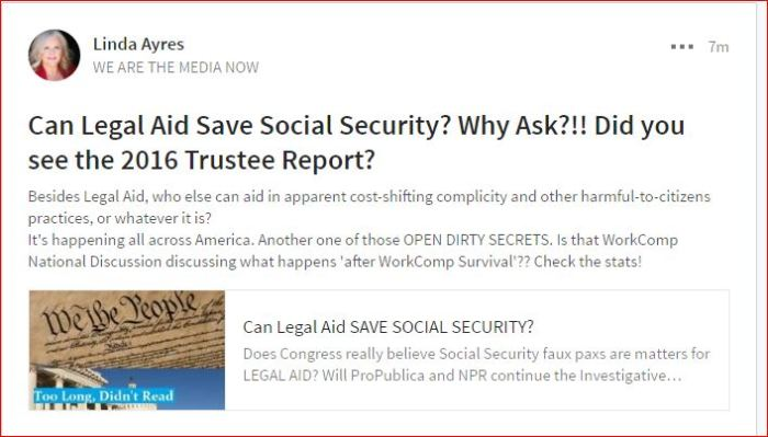 CAN LEGAL AID SAVE SOCIAL SECURITY - DID YOU SEE THE 2016 TRUSTEE REPORT