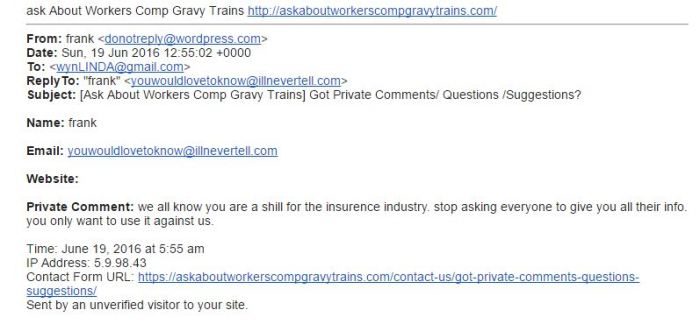 wORKcOMP qUESTION - PRANKS OR THREATS
