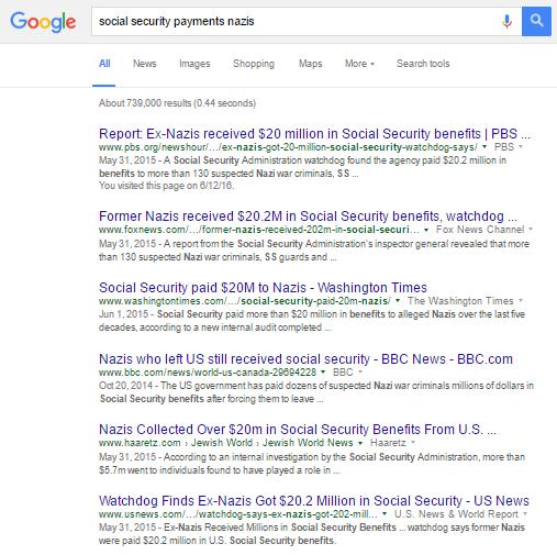 social security pays nazis