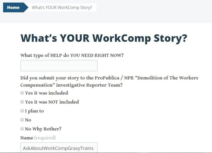 Pro Publica Engagement Reporting What's Your WorkComp Story